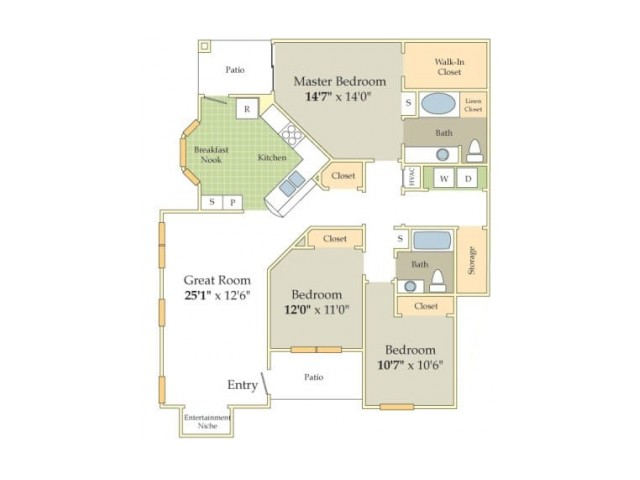Sussex Floor Plan | 3 Bedroom with 2 Bath | 1485 Square Feet | Cason Estates  | Apartment Homes