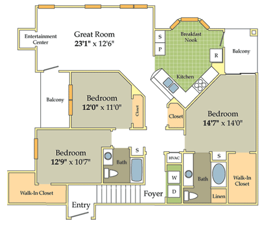 Yorkshire Floor Plan | 3 Bedroom with 2 Bath | 1615 Square Feet | Cason Estates  | Apartment Homes