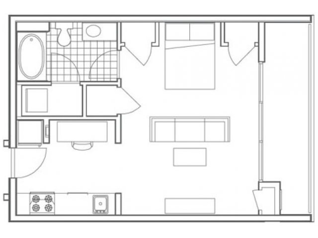Image of the A3 Bedford floorplan, an open concept studio apartment at 935M