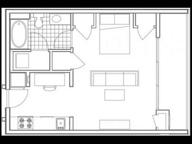 S3 Bedford Studio Apartment Floorplan at 935M