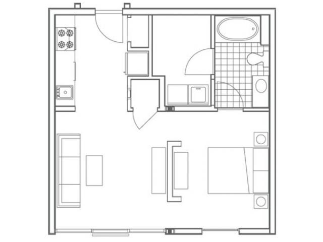 Image of the A1 Ferst floorplan, an open concept studio apartment at 935M