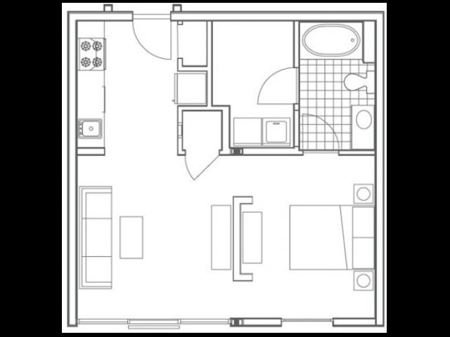 A1 Ferst Studio Apartment Floorplan at 935M