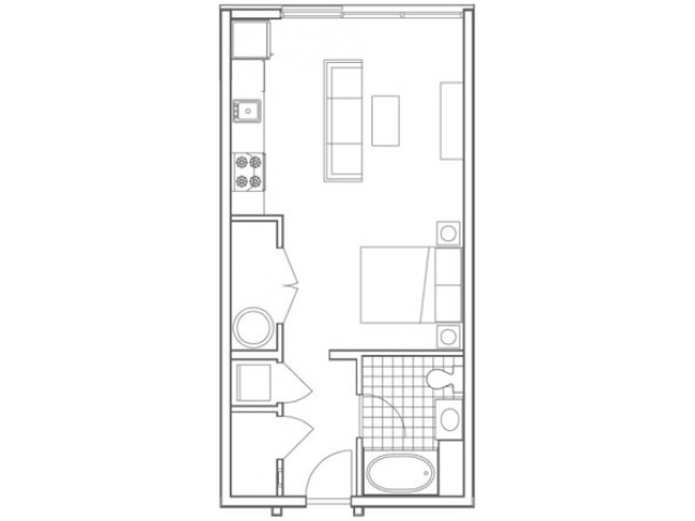 Image of the S2 Edgehill floorplan, an open concept studio apartment at 935M