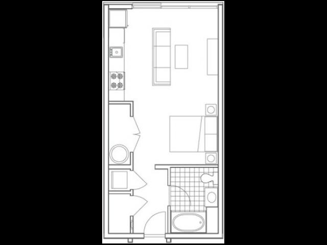 S2 Edgehill Studio Apartment Floorplan at 935M