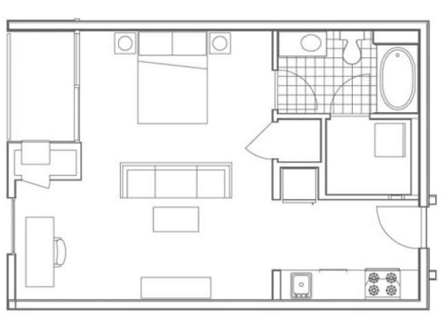 Image of the S4 Hemphill floorplan, an open concept studio apartment at 935M