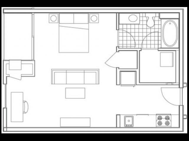 S4 Hemphill Studio Apartment Floorplan at 935M