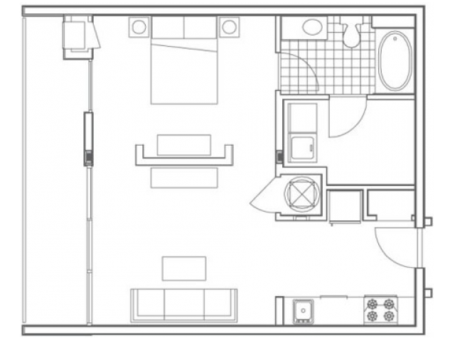 Image of the A3 Techwood floorplan, an open concept 1 bedroom, 1 bathroom apartment at 935M