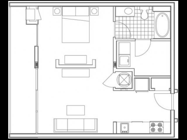 A3 Techwood 1 Bedroom Apartment Floorplan at 935M