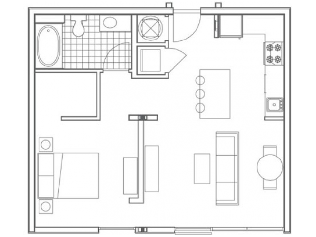 Image of the A2 Huff floorplan, an open concept 1 bedroom, 1 bathroom apartment at 935M