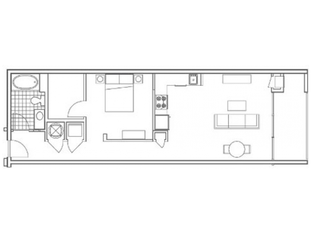 Image of the A6 Echo floorplan, an open concept 1 bedroom, 1 bathroom apartment at 935M