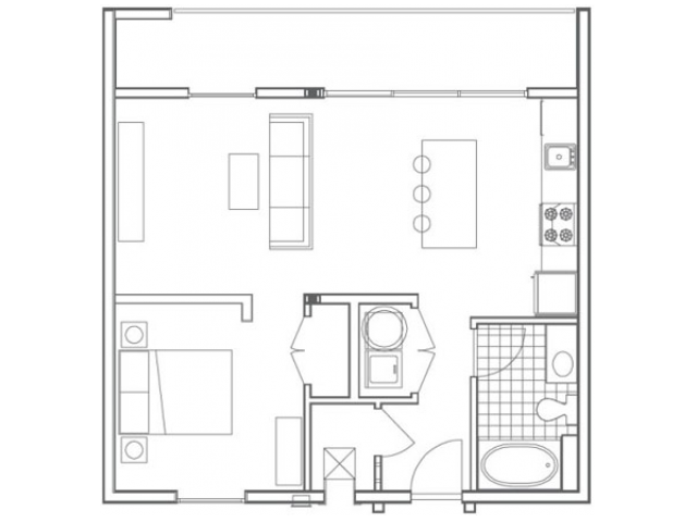 Image of the A4 Pelham floorplan, an open concept 1 bedroom, 1 bathroom apartment at 935M
