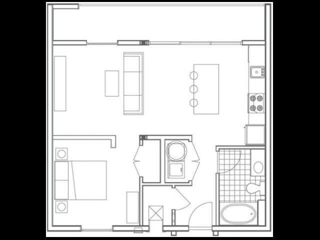 A4 Pelham 1 Bedroom Apartment Floorplan at 935M