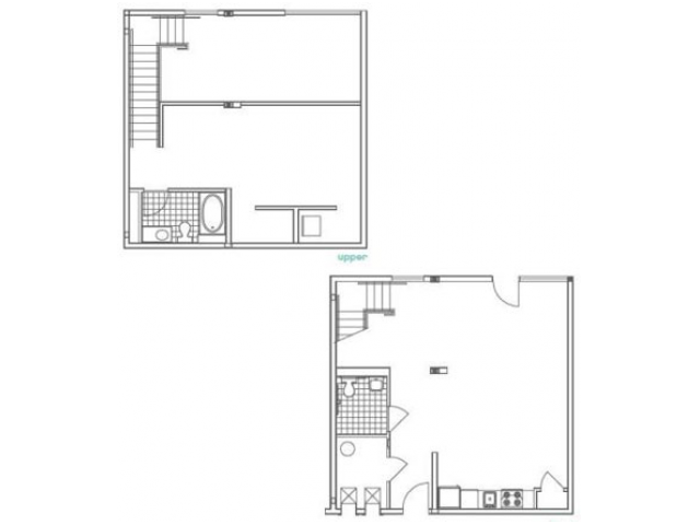 Image of the W3 Luckie floorplan, an open concept 1 bedroom, 2 bathroom apartment at 935M