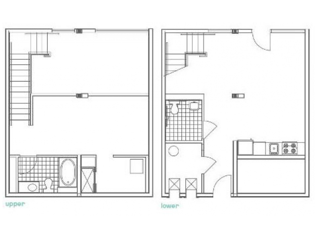 Image of the W11 Defoors Alternate floorplan, an open concept 1 bedroom, 2 bathroom apartment at 935M