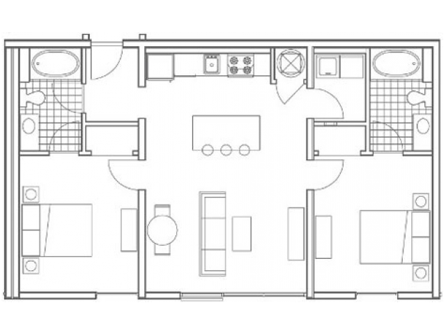 Image of the B2 Oliver floorplan, an open concept 2 bedroom, 2 bathroom apartment at 935M