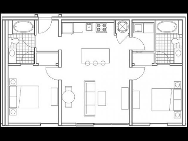 B2 Oliver 2 Bedroom Apartment Floorplan at 935M