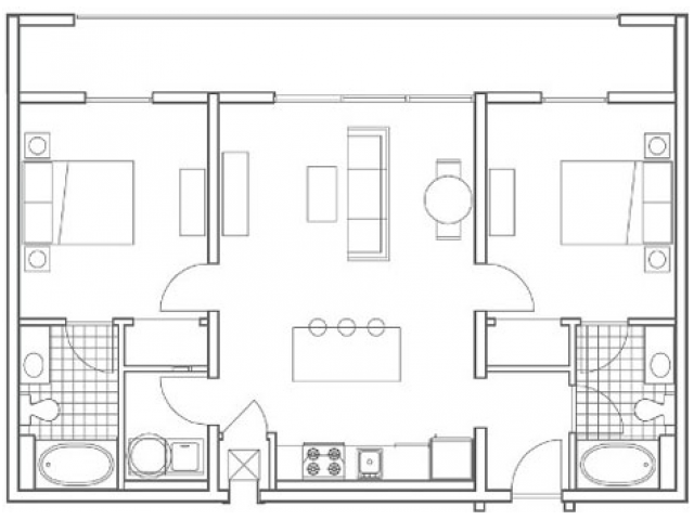 Image of the B3 Wheeler floorplan, an open concept 2 bedroom, 2 bathroom apartment at 935M