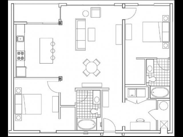 B5 Turner 2 Bedroom Apartment Floorplan at 935M