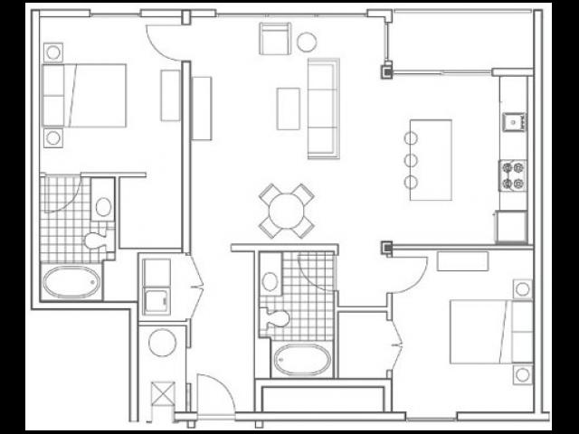 B5.1 Turner Alternate 2 Bedroom Apartment Floorplan at 935M