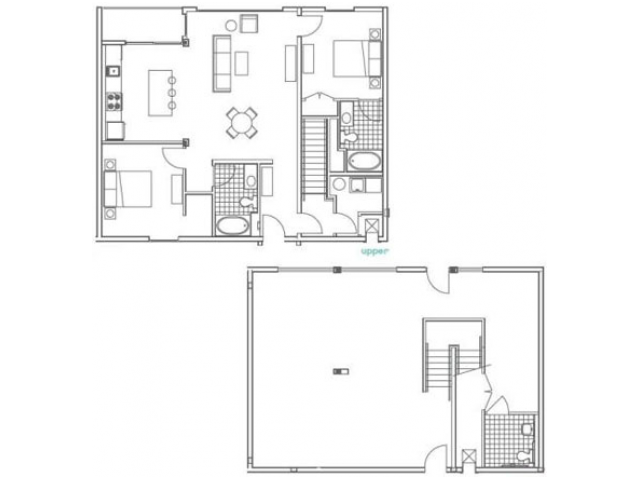 W3 Marietta Floor Plan | 2 Bedroom with 3 Bath | 2415 Square Feet | 935M | Apartment Homes