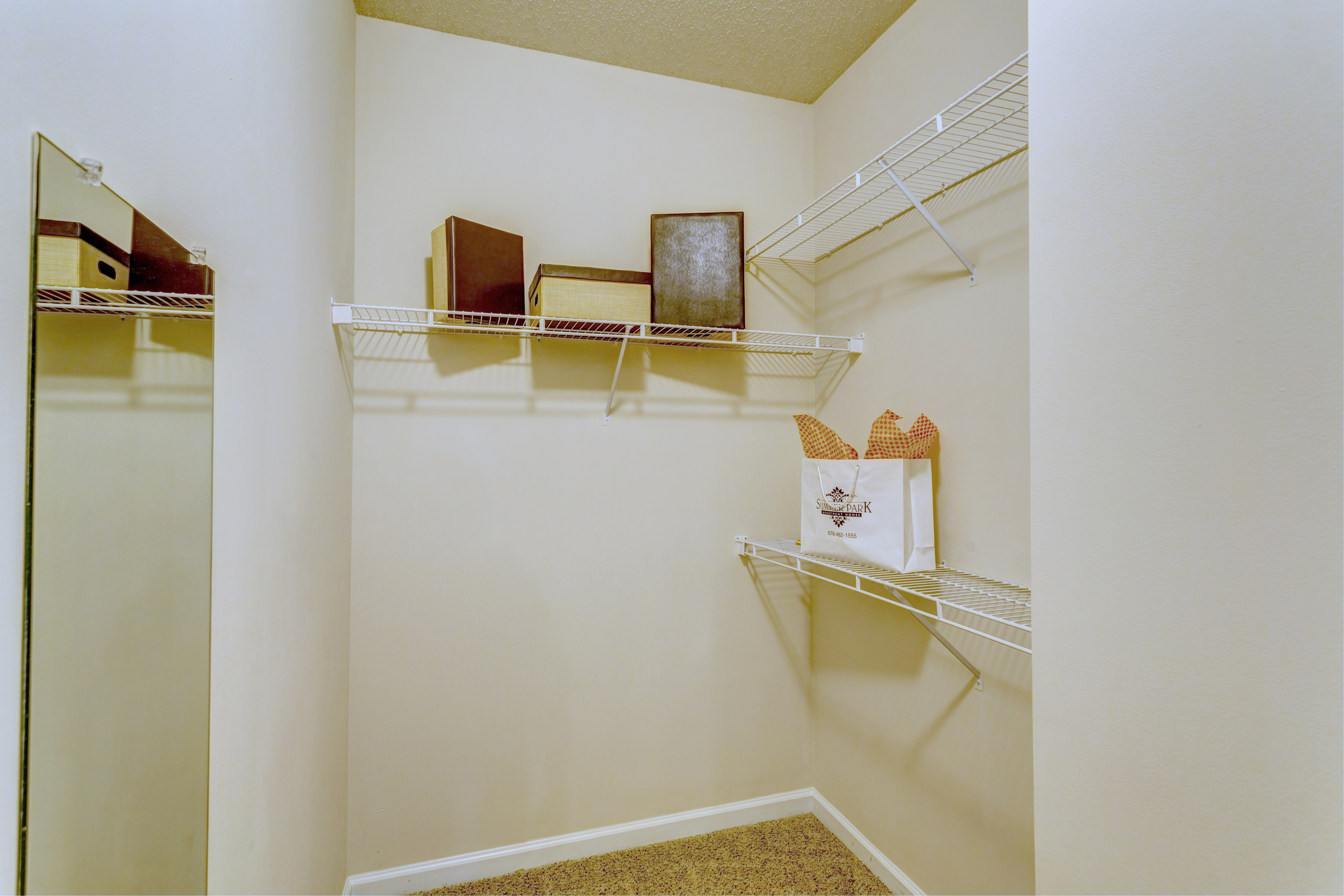 View of Closet, Showing Rack, Boxes and Mirror at Summer Park Apartments