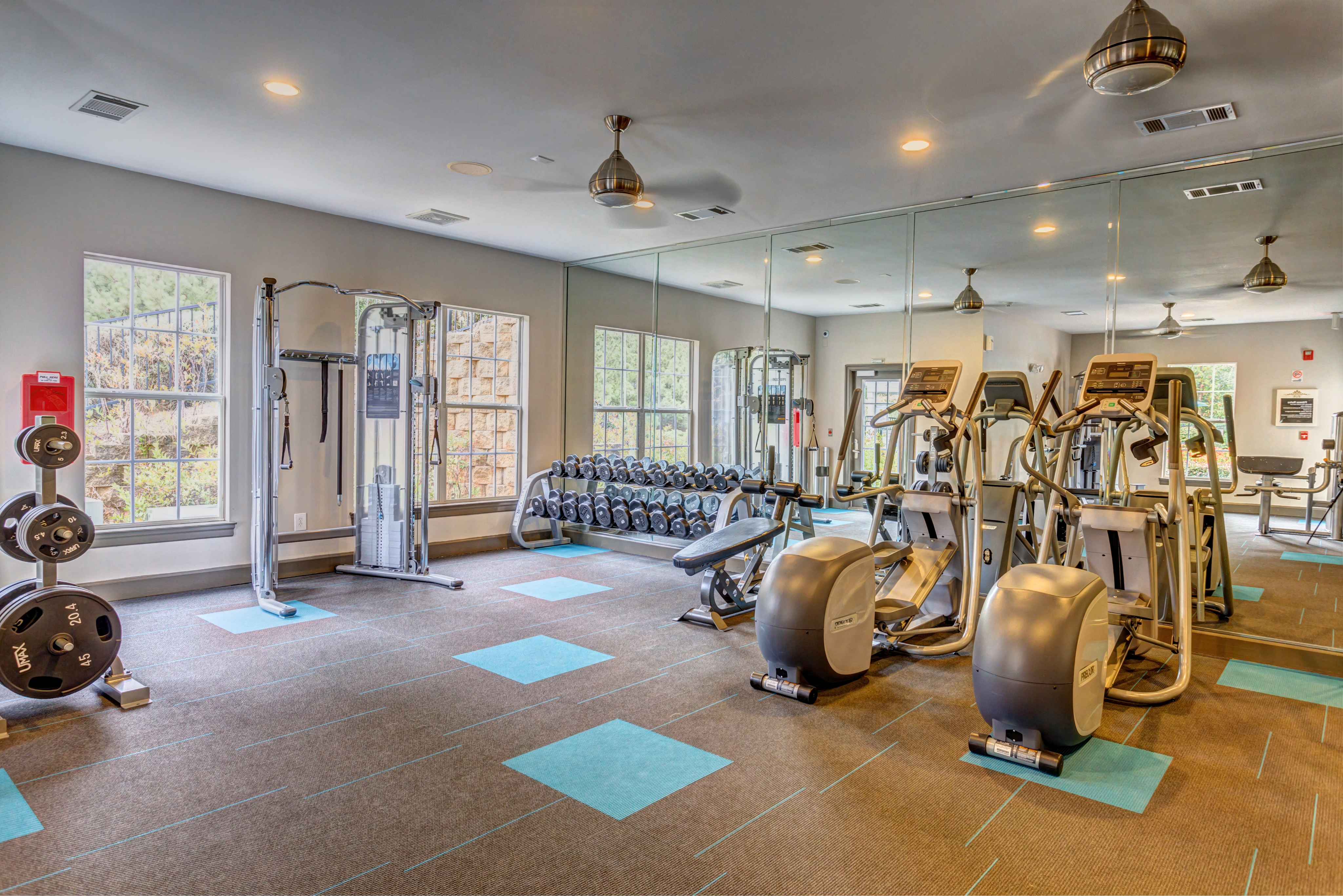 View of Fitness Center, Showing Cardio Machines, Free Weights, and Cable Machine at Summer Park Apartments