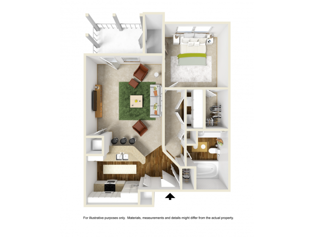 Iris Floor Plan | 1 Bedroom with 1 Bath | 676 Square Feet | Summer Park | Apartment Homes