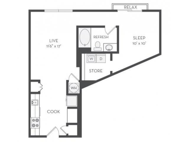 Image of the Diesel floorplan, an open concept 1 bedroom, 1 bathroom 735 sq. ft. apartment at Cottonwood Westside