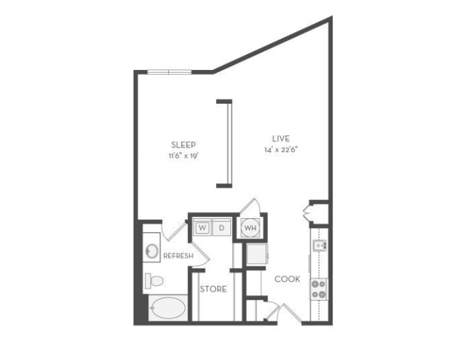 Image of the Wright floorplan, an open concept 1 bedroom, 1 bathroom 803 sq. ft. apartment at Cottonwood Westside