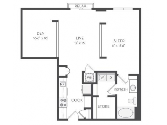 Image of the Morse floorplan, an open concept 1 bedroom, 1 bathroom 903 sq. ft. apartment at Cottonwood Westside