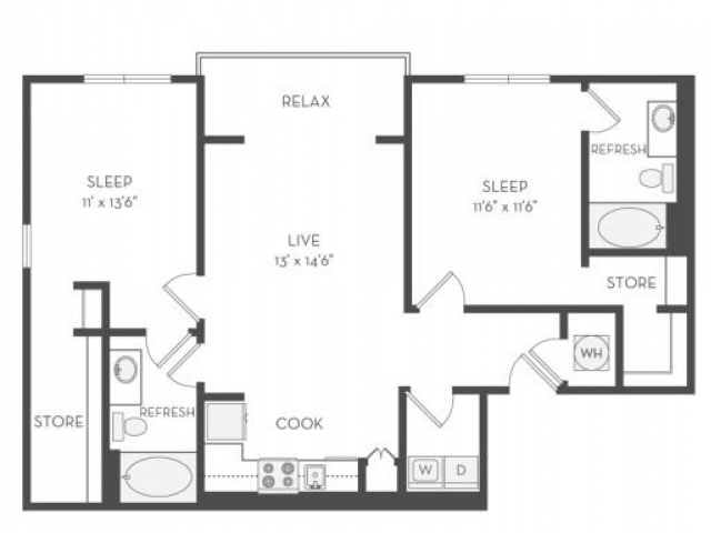 The Alexander Floor Plan | 2 Bedroom with 2 Bath | 1172 Square Feet | Cottonwood Westside | Apartment Homes