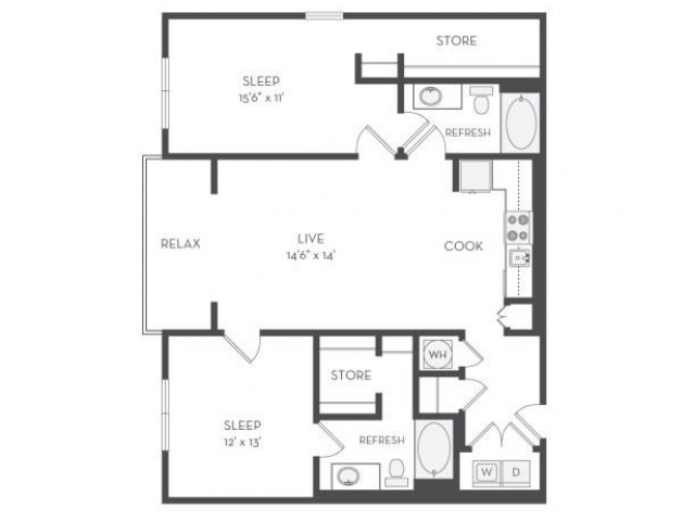 The Picasso Floor Plan | 2 Bedroom with 2 Bath | 1225 Square Feet | Cottonwood Westside | Apartment Homes