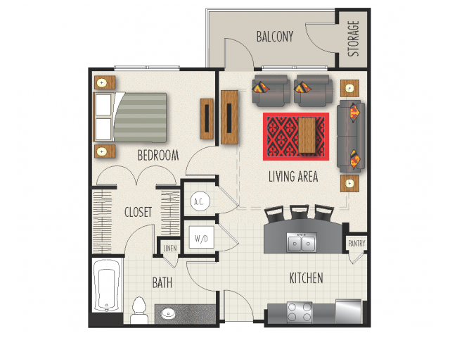 1A1 Floor Plan | 1 Bedroom with 1 Bath | 755 Square Feet | Heights at Meridian | Apartment Homes