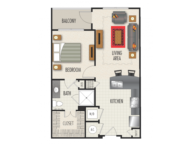 1B Floor Plan | 1 Bedroom with 1 Bath | 709 Square Feet | Heights at Meridian | Apartment Homes