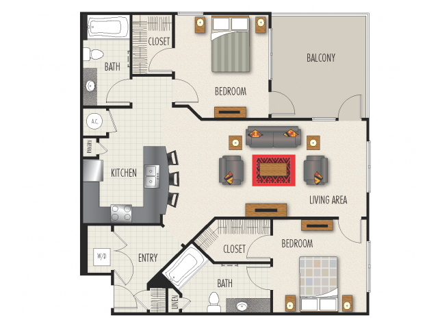 2D Floor Plan | 2 Bedroom with 2 Bath | 1272 Square Feet | Heights at Meridian | Apartment Homes