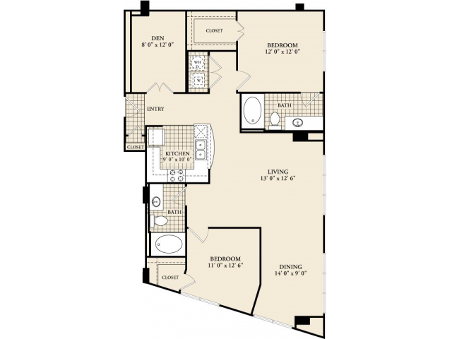 B9 Floor Plan | 2 Bedroom with 2 Bath | 1301 Square Feet | McKinney Uptown | Apartment Homes