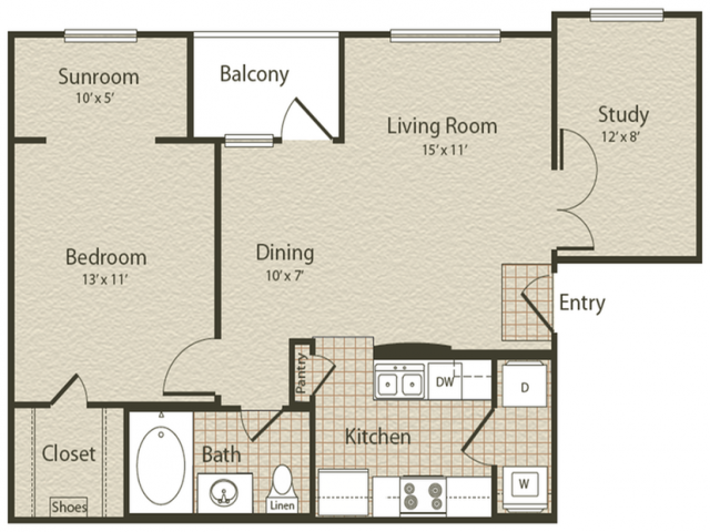 The Baltic Floor Plan | 1 Bedroom with 1 Bath | 798 Square Feet | Enclave on Golden Triangle | Apartment Homes