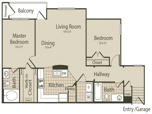 The Marvin Gardens Floor Plan | 2 Bedroom with 2 Bath | 1159 Square Feet | Enclave on Golden Triangle | Apartment Homes