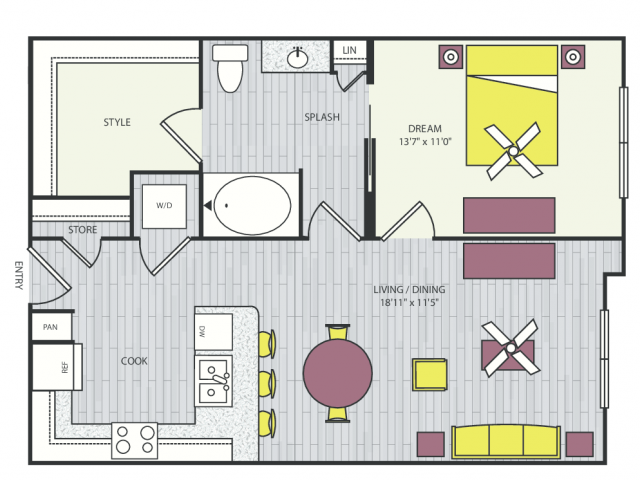 A6a Floor Plan | 1 Bedroom with 1 Bath | 771 Square Feet | Routh Street Flats | Apartment Homes