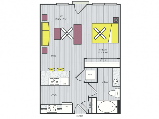 S1a Floor Plan | Studio with 1 Bath | 551 Square Feet | Routh Street Flats | Apartment Homes