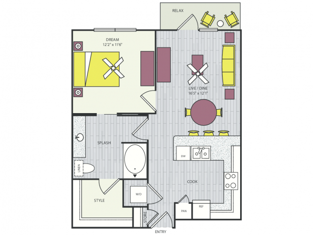 A10f Floor Plan | 1 Bedroom with 1 Bath | 712 Square Feet | Routh Street Flats | Apartment Homes