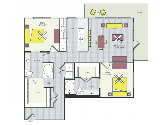 B4a Floor Plan | 2 Bedroom with 2 Bath | 1239 Square Feet | Routh Street Flats | Apartment Homes