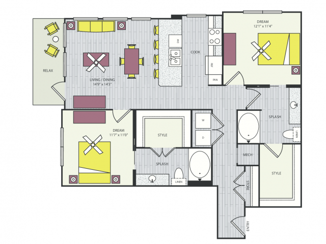 B3a Floor Plan | 2 Bedroom with 2 Bath | 1121 Square Feet | Routh Street Flats | Apartment Homes
