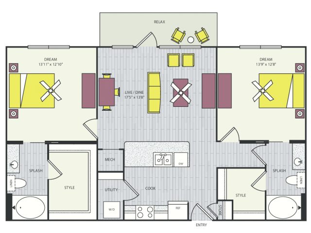 B2a Floor Plan | 2 Bedroom with 2 Bath | 1160 Square Feet | Routh Street Flats | Apartment Homes