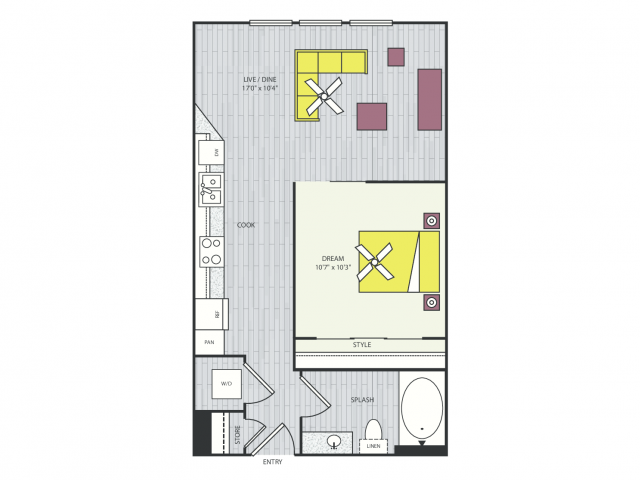 S2g Floor Plan | Studio with 1 Bath | 602 Square Feet | Routh Street Flats | Apartment Homes