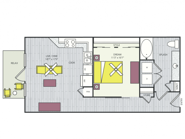 A3g Floor Plan | 1 Bedroom with 1 Bath | 658 Square Feet | Routh Street Flats | Apartment Homes