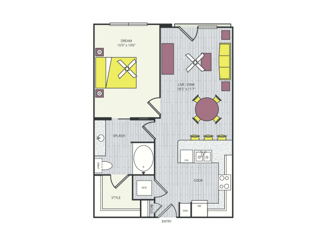 A4b Floor Plan | 1 Bedroom with 1 Bath | 732 Square Feet | Routh Street Flats | Apartment Homes