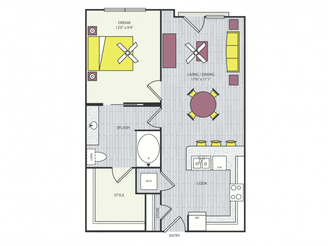 A7b Floor Plan | 1 Bedroom with 1 Bath | 651 Square Feet | Routh Street Flats | Apartment Homes