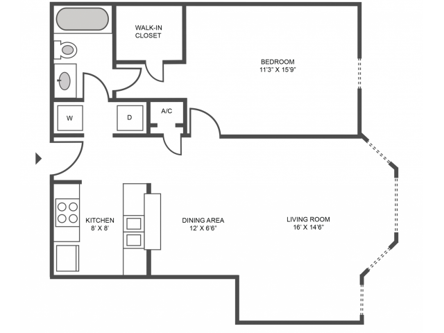 Cypress Classic Floor Plan | 1 Bedroom with 1 Bath | 719 Square Feet | The Arbors of Las Colinas | Apartment Homes