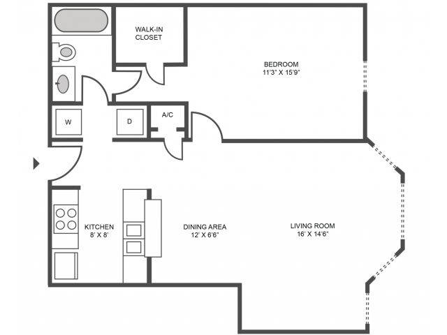 Cypress Floor Plan | 1 Bedroom with 1 Bath | 719 Square Feet | The Arbors of Las Colinas | Apartment Homes